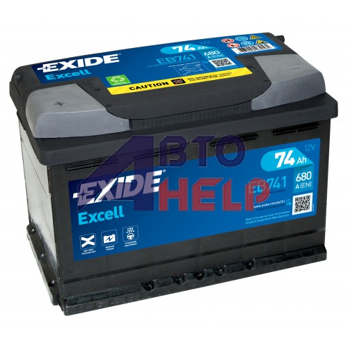 Автомобильный аккумулятор EXIDE Excell 6СТ-74Ah Аз 680A (EN) EB741