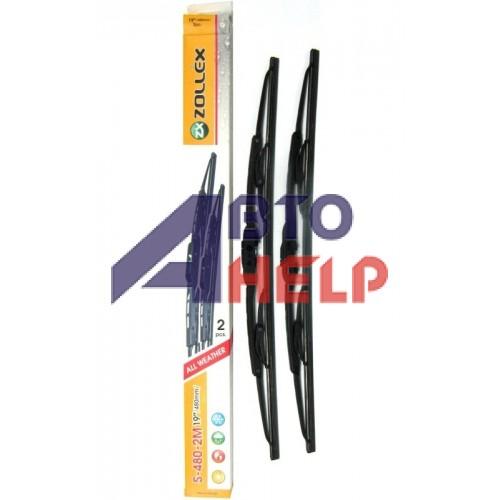 Щётки стеклоочистителя Zollex каркасные 480мм (6 адаптеров) комплект 2шт S-480