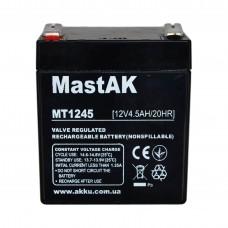 Аккумулятор тяговий MastAK MT1245 6СТ-4,5Ah Аз AGM