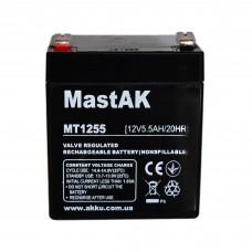 Аккумулятор тяговий MastAK MT1255 6СТ-5,5Ah Аз AGM